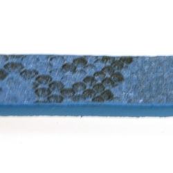 Snakeleather plat blauw 1cm (1.20 mtr.)