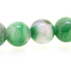 Gekleurd Halfedelsteen kraal, rond, groen/wit, 6 mm (streng)
