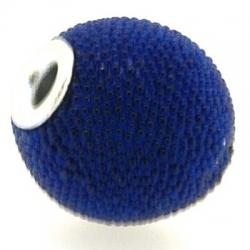 Kashmiri kraal, rond, blauw, groot rijggat, 14 mm (3 st.)