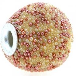 Kashmiri kraal, rond, wit/roze, groot rijggat, 14 mm (3 st.)