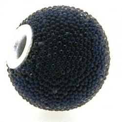 Kashmiri kraal, rond, donkerblauw, groot rijggat, 14 mm (3 st.)