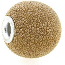 Kashmiri kraal, rond, beige, groot rijggat, 14 mm (3 st.)
