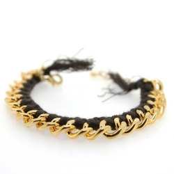 Zelfmaakpakketje trendy geknoopte Ibiza Style armband, bruin, goudkleurige armband (1 st.)