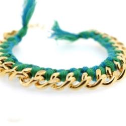 Zelfmaakpakketje trendy geknoopte Ibiza Style armband, turquoise/groen, goudkleurige armband (1 st.)