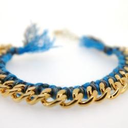 Zelfmaakpakketje trendy geknoopte Ibiza Style armband, blauw/grijs gemeleerd, goudkleurige armband (1 st.)
