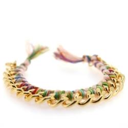 Zelfmaakpakketje trendy geknoopte Ibiza Style armband, roze/kleurig, goudkleurige armband (1 st.)