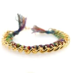 Zelfmaakpakketje trendy geknoopte Ibiza Style armband, kleurig, goudkleurige armband (1 st.)