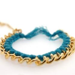 Zelfmaakpakketje trendy geknoopte Ibiza Style armband, zeegroen, goudkleurige armband (1 st.)