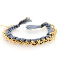 Zelfmaakpakketje trendy geknoopte Ibiza Style armband, lichtgrijs/zwart, goudkleurige armband (1 st.)