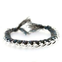 Zelfmaakpakketje trendy geknoopte Ibiza Style armband, bruin/bruin gemeleerd, zilverkleurige armband (1 st.)