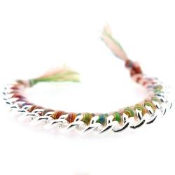 Zelfmaakpakketje trendy geknoopte Ibiza Style armband, roze/kleurig, zilverkleurige armband (1 st.)