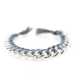 Zelfmaakpakketje trendy geknoopte Ibiza Style armband, lichtgrijs/grijs gemeleerd, zilverkleurige armband (1 st.)