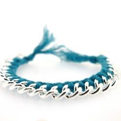 Zelfmaakpakketje trendy geknoopte Ibiza Style armband, zeegroen, zilverkleurige armband (1 st.)