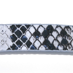 Snakeleather, plat, zwart/wit, 1 cm (1.20 mtr.)
