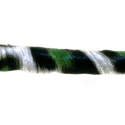 PU leer, rond, tijger, limegroen/zwart/wit, 6 mm (1 mtr.)