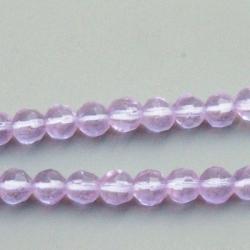 Glaskraal, rond met facetten, lila, 4 mm (1 streng)