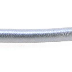 PU leer, rond, zilver, 6 mm (1 mtr.)