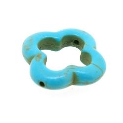 Halfedelsteen kraal, Turquoise, open bloem, 20 mm (streng)
