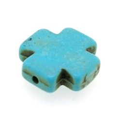 Halfedelsteen kraal, Turquoise, kruis, 24 mm (streng)