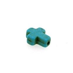 Halfedelsteen kraal, Turquoise, kruis, 16 x 12 mm (streng)