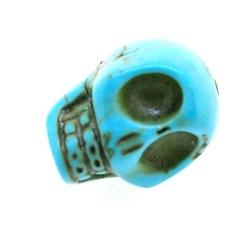 Halfedelsteen kraal, Turquoise, doodskop, 18 mm (streng)