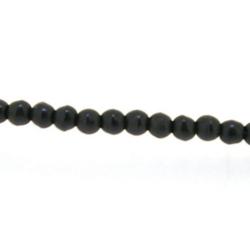 Gekleurd Turquoise kraal, zwart, rond, 3 mm (streng)