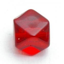 Glaskraal, hoekig, rood, 12 mm (5 st.)