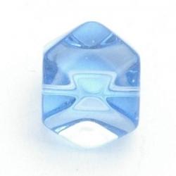 Glaskraal, hoekig, blauw, 12 mm (5 st.)