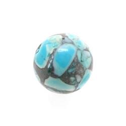 Gekleurd Turquoise kraal, geperst, blauw, rond, 12 mm (streng)