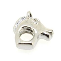 Metaal, leerschuiver, zilver, paardenhoofd, 12 mm, voor rond leer van max 4 mm (1 st.)