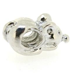 Metaal, leerschuiver, zilver, muisje, 18 mm, voor rond leer van max 4,5 mm (1 st.)