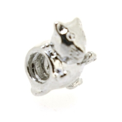 Metaal, leerschuiver, zilver, poes, 12 mm, voor rond leer van max 4 mm (1 st.)