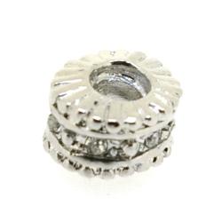 Metaal, leerschuiver, zilver, rond, strass, 8 x 11 mm, voor rond leer van max 4,5 mm (1 st.)