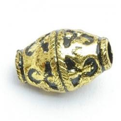 Metallook kraal, goudkleurig, 16 mm (10 st.)