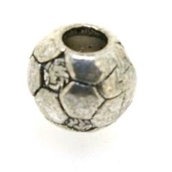 Metaal, leerschuiver, zilver, voetbal, 10 mm, voor rond leer van max 4,5 mm (1 st.)
