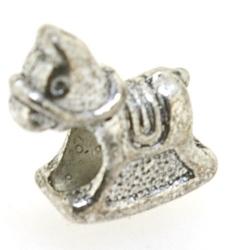Metaal, leerschuiver, zilver, hobbelpaard, 16 mm, voor rond leer van max 4 mm (1 st.)