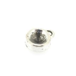 Metaal, hanger voor cabochon/plaksteen, rond, zilver, 14 mm (3 st.)