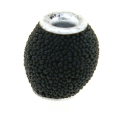 Kashmiri kraal, rond, zwart, 10 mm (5 st.)