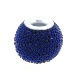 Kashmiri kraal, rond, blauw, 10 mm (5 st.)