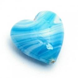Glaskraal, hart, turquoise, gemarmerd, 18 mm (5 st.)