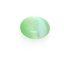 Cabochon/plaksteen, glas, catseye, rond, groen, 14 mm (5 st.)
