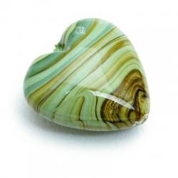 Glaskraal, hart, groen, gemarmerd, 18 mm (5 st.)