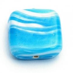 Glaskraal, vierkant, turquoise, gemarmerd, 18 mm (5 st.)