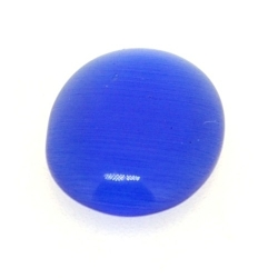 Cabochon/plaksteen, glas, catseye, ovaal, blauw, 18 x 13 mm (5 st.)