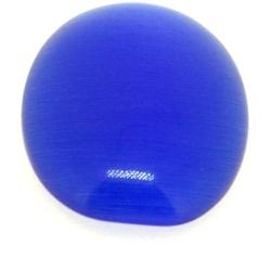 Cabochon/plaksteen, glas, catseye, ovaal, blauw, 25 x 18 mm (3 st.)
