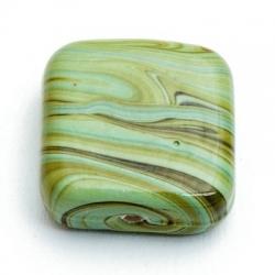 Glaskraal, vierkant, groen, gemarmerd, 18 mm (5 st.)