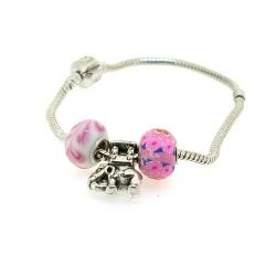 Pandora Style armband met 3 kralen, roze (1 st.)