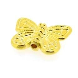Metalen kraal, goud, vlinder, 10 mm (5 st.)