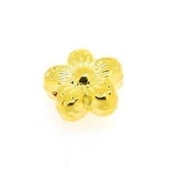 Metalen kraal, bloemetje, goud, 9 mm (10 st.)