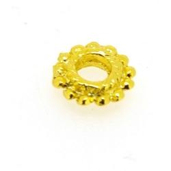 Metalen kraal, rond, goud, 14 mm, groot rijggat van ca. 6,5 mm ( st.)
